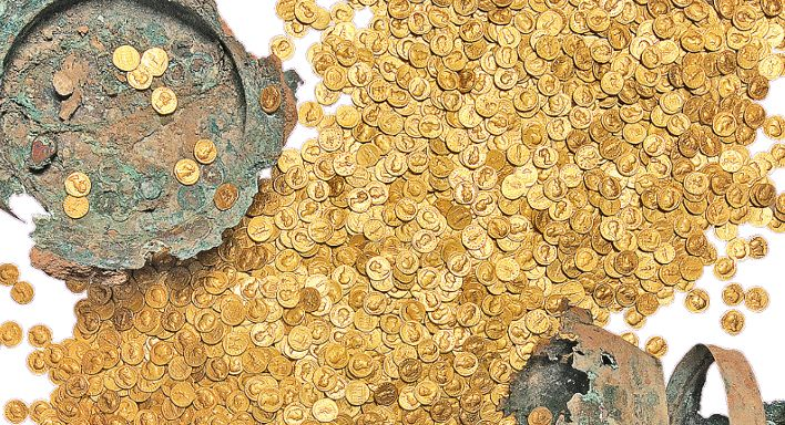 """""""The Trier Gold Hoard"""" is the largest preserved Roman gold hoard worldwide. Now on exhibition at the Rheinisches Landesmuseum Trier"""