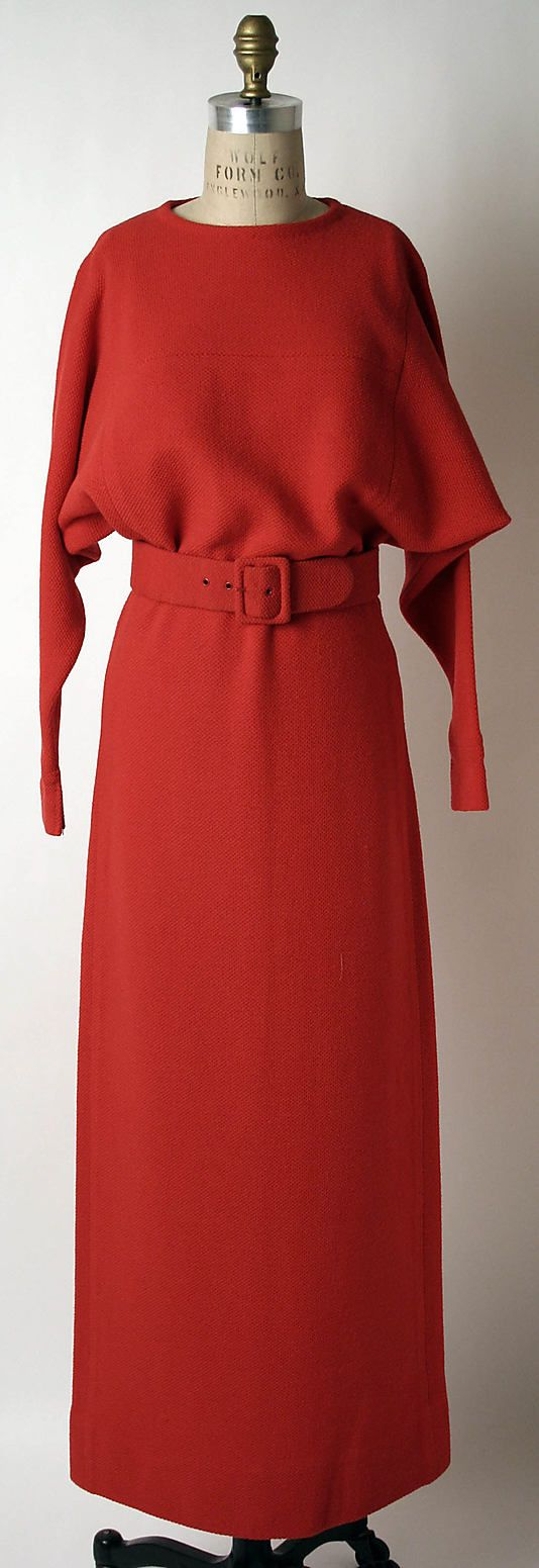 Red wool evening dress with self-fabric belt, by Norman Norell for Traina-Norell, American, fall/winter 1954-55.