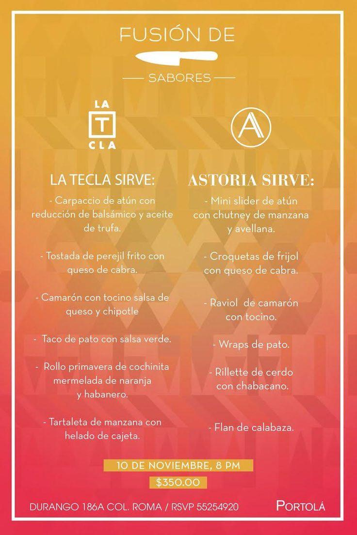 #Agenda No te pierdas de esta fusión de sabores entre La Tecla y #Astoria este 10 de noviembre: https://www.queremoscomer.rest/restaurantes/comida-mexicana/condesa-roma/la-tecla-roma/