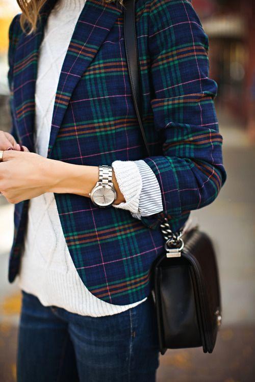 plaid blazer  white cable knit sweater  black bag