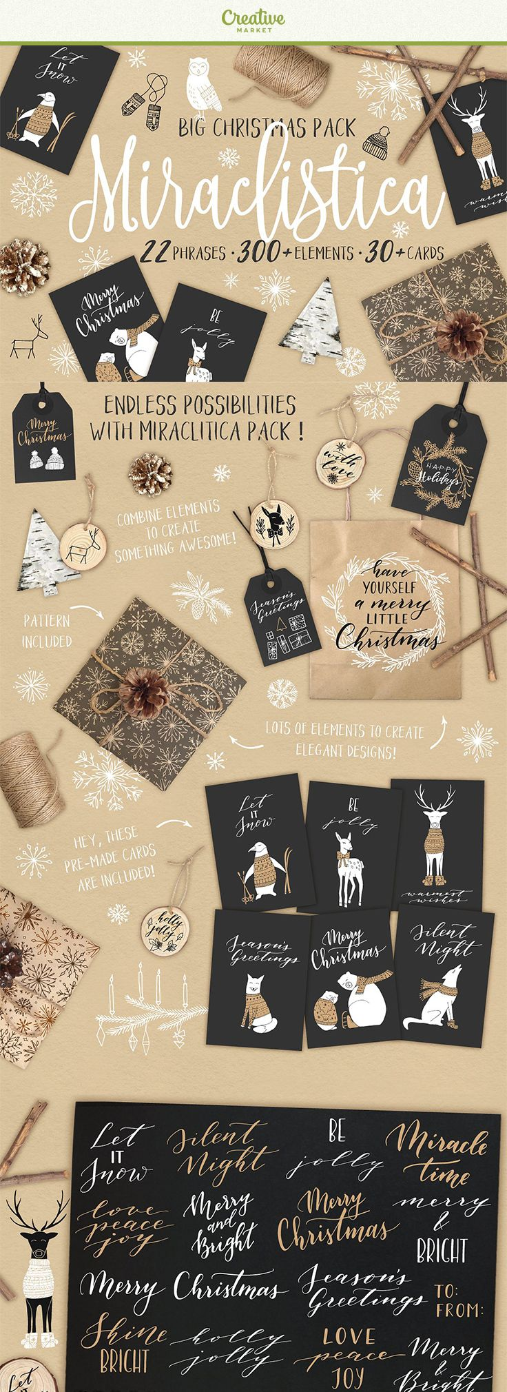 Affiliate | Miraclistica is a big Christmas pack, which contains lots of hand drawn elegant and lovely elements, overlays, patterns and cards to make it easier to prepare for the most wonderful time of the year, Christmas.Cute and festive graphic elements and hand lettered phrases are perfect for any creative project and can be used in websites, blogs, stationery, invitations, cards, wrapping paper, tags and a lot more.