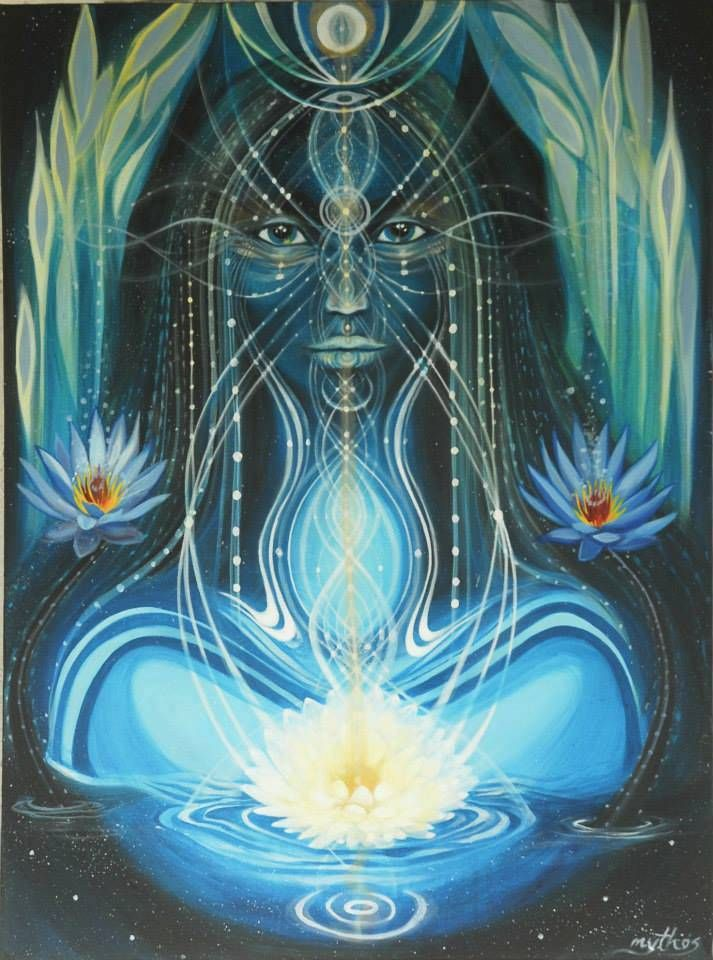 "Unite with the sacred Feminine Divine temple that you are. - Art by Tessa Mythos | ""Blue Lotus"""
