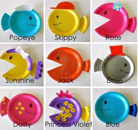 Creare dei pesciolini con dei piatti di plastica.