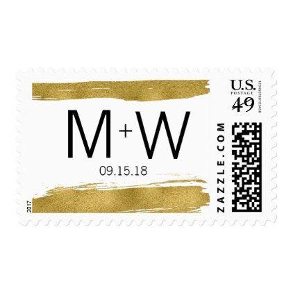 Modern Faux Gold Brushstroke Wedding Postage - modern gifts cyo gift ideas personalize