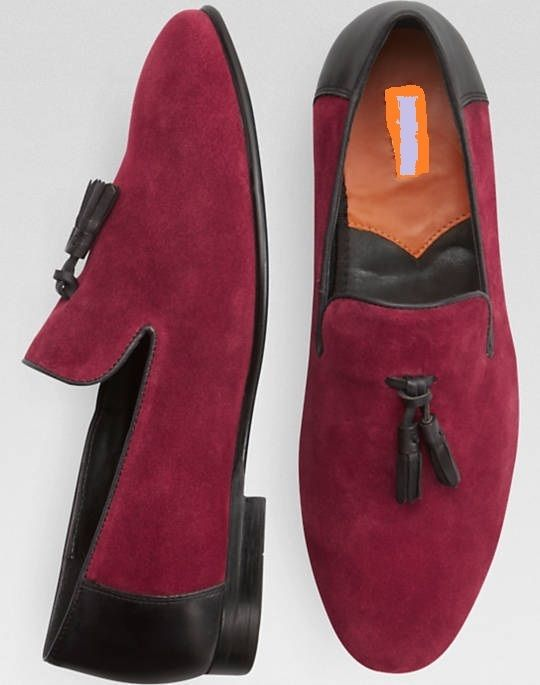 23060d3ddba Maroon Suede Leather Handmade Moccasin Casual Loafer Slip Ons with Tassels  4 Men - Dress Formal