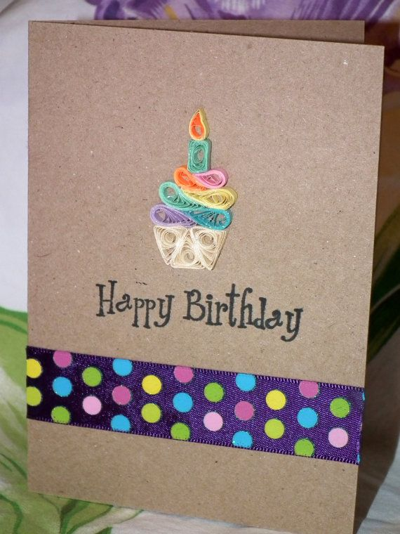 Birthday Card with Quilled Rainbow Cupcake by SarasPaperPretties, $6.00