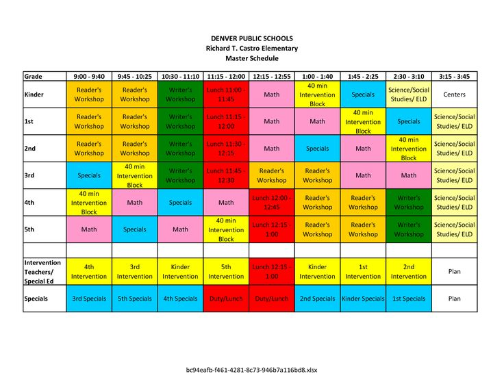 elementary school master scheduling - Google Search