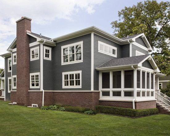 I LOVE these house colors; red brick, gray and cream hardie siding ...