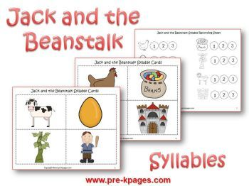 Jack and the Beanstalk syllables via www.pre-kpages.com/jack/