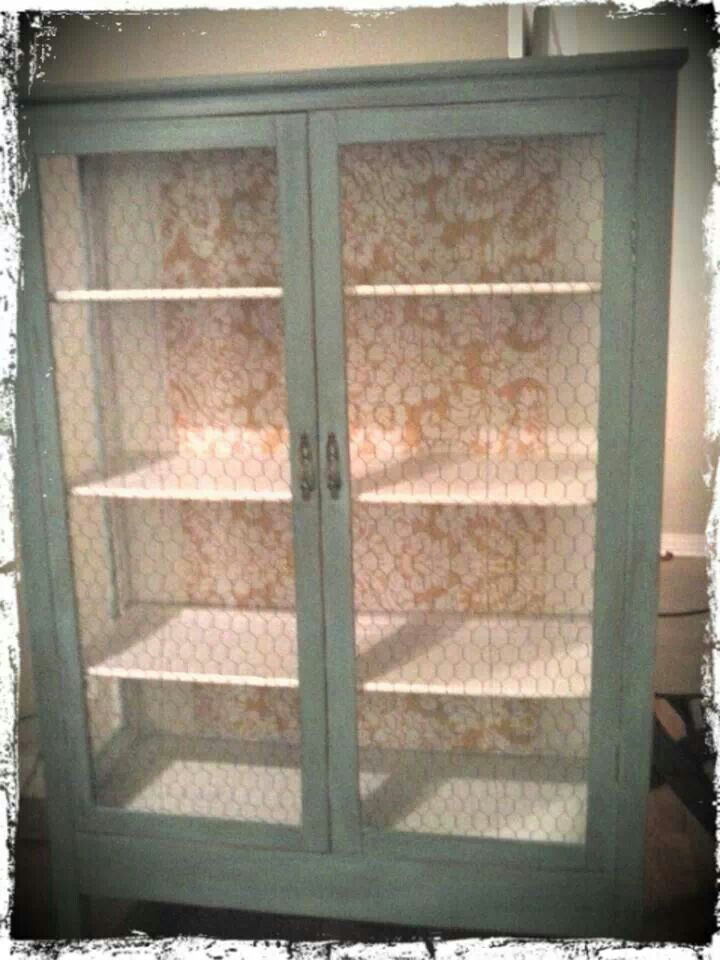 Cabinet with chicken wire doors  Furniture and shelves
