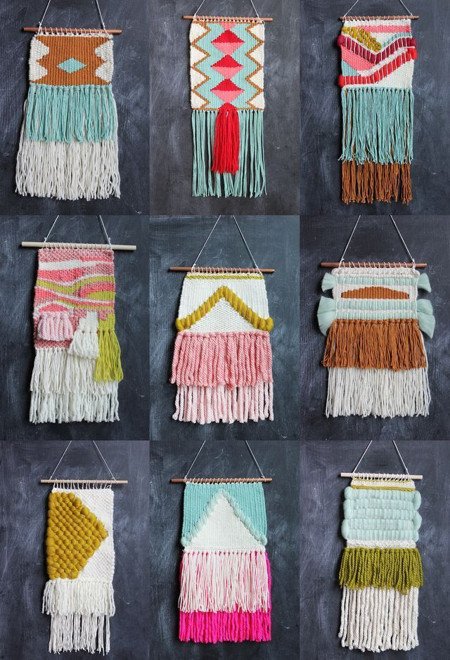 I have been fitting in ten and fifteen minute weaving sessions here and there over the last three weeks and was able to finally finish another collection of woven wall hangings. I offered them for sal