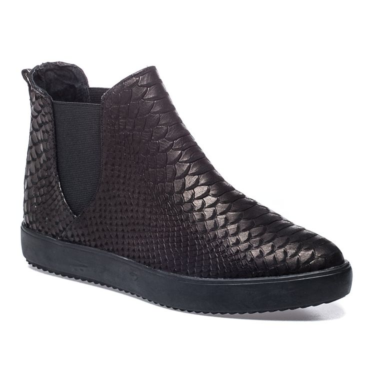 DAZZLE Black And Black Snake Print Leather Bootie - $165.00