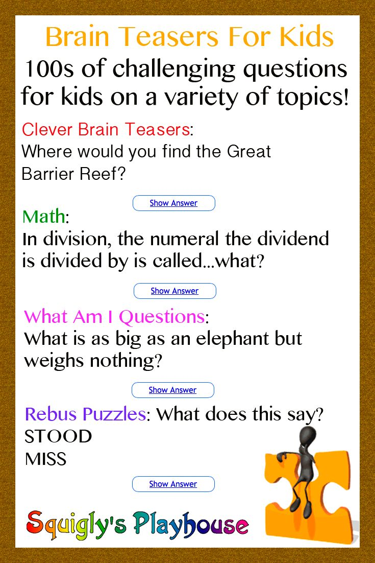 Over 100 Brain Teasers for Kids Brain teasers, Brain
