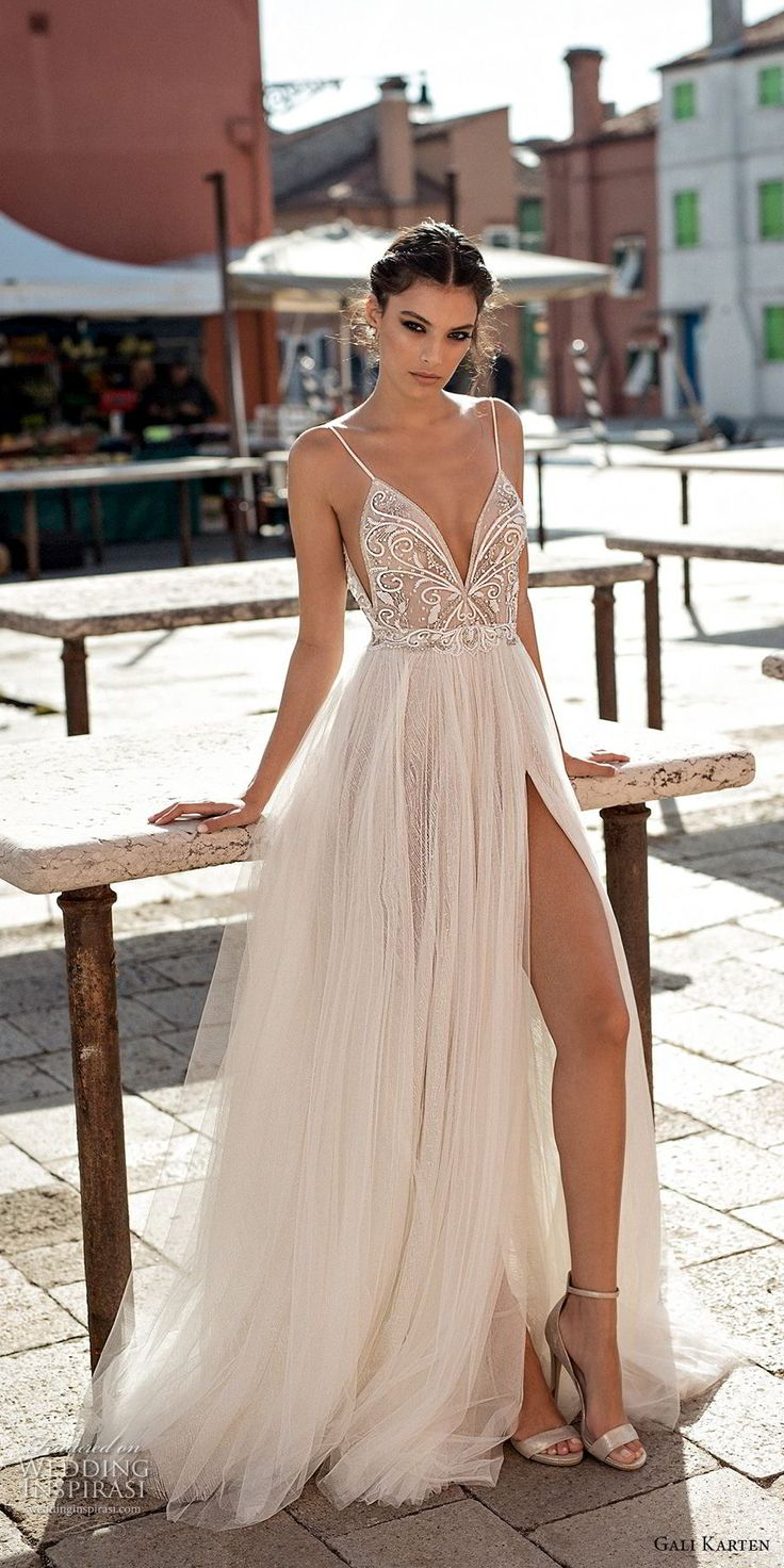 gali karten 2018 bridal spaghetti strap deep plunging sweetheart neckline heavily embellished bodice high slit skirt soft a  line wedding dress open scoop back sweep train (5) mv -- Gali Karten 2018 Wedding Dresses
