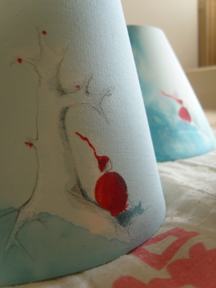 blue lampshades. Watercolor & collage. For kids room, bedroom or lounge. Poetic pastel touch