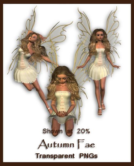 Rendered in DAZ|Studio. A light pastel dressed fae for Fall while playing with new hair purchase & adjusting skin shader settings. Wing sections are semi-transparent. *Please Credit & Note ...