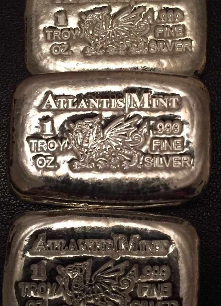 Two 1 Oz Atlantis Dragon Hand Poured Silver Bars 999 Great Gift Gold Bullion Silver Bars Silver Bullion