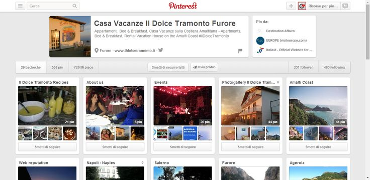 Casa Vacanze Il Dolce Tramonto Furore profile on Pinterest; holiday vacation on the Amalfi Coast