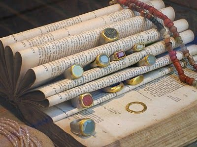 Antique / Vintage Book Jewelry Display / Ring storage - Cheap, easy & portable display for craft shows, market display, etc.