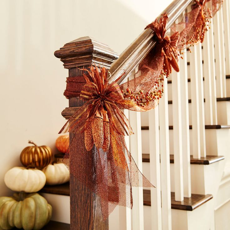 Add a touch of autumn to your home decor with this easy to make Fall Mesh Banister Swag