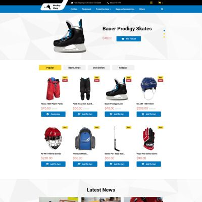 Hockey Shop Bootstrap PrestaShop Template
