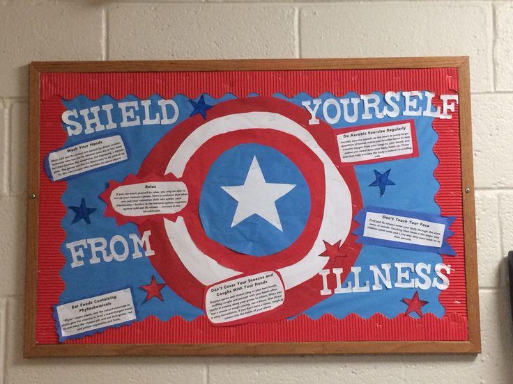 Superhero Bulletin Board- Shield Yourself From Illness Captain America RA Bulletin Board