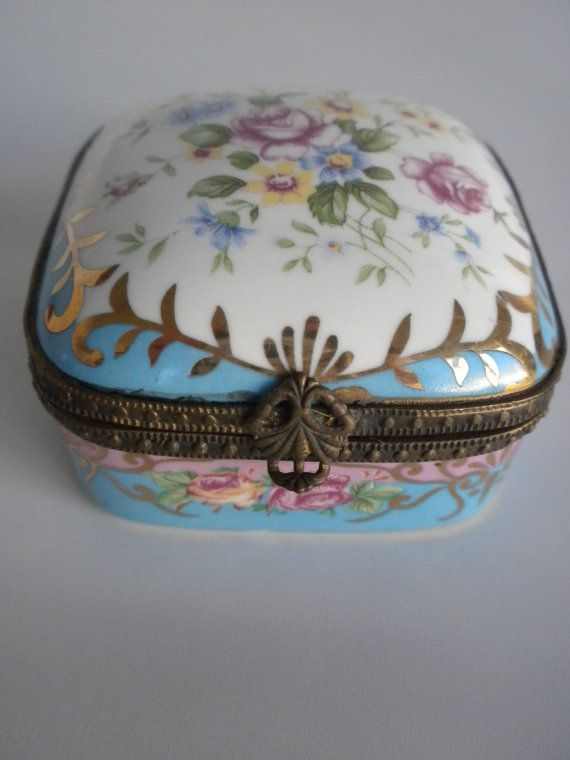 Antique Porcelain Trinket Boxes | Flowered, Porcelain Trinket Box, Hinged Porcelain Box, Jewelry Box
