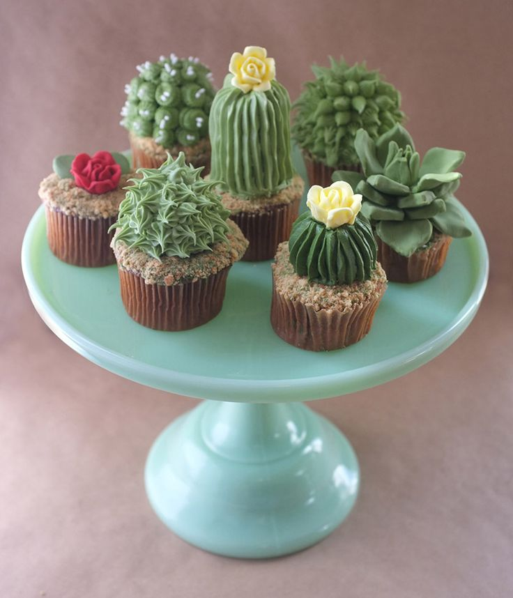 DIY House Plant Cupcakes plants food DIY cooking cake cacti  I actually thought these were real!!!