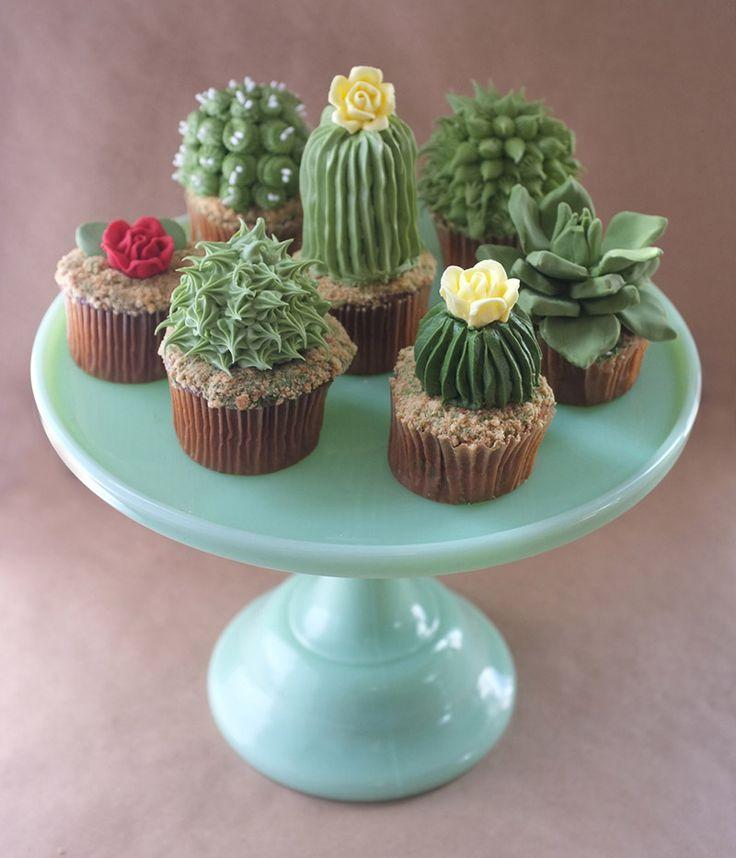 Des cupcakes en forme de cactus sur http://flepi.net