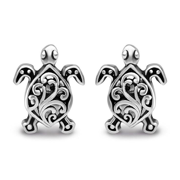925 Oxidized Sterling Silver Small Little Filigree Sea Turtle 11 mm Post Stud Earrings *** Read more reviews of the product by visiting the link on the image.