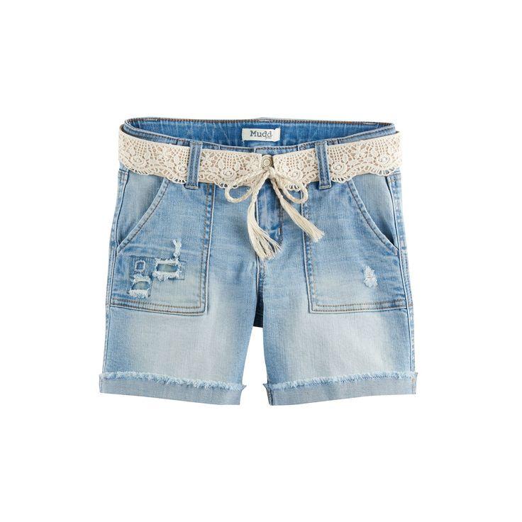 Girls 7-16 & Plus Size Mudd® Crochet Belted Light Wash Denim Midi Shorts, Size: 16 1/2, Light Blue