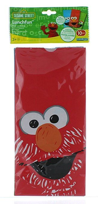 Amazon.com: Sesame Street Lunchfun Paper Lunch Bags 20 pc (2 pks of 10) Treat Party Favors Elmo: Toys & Games