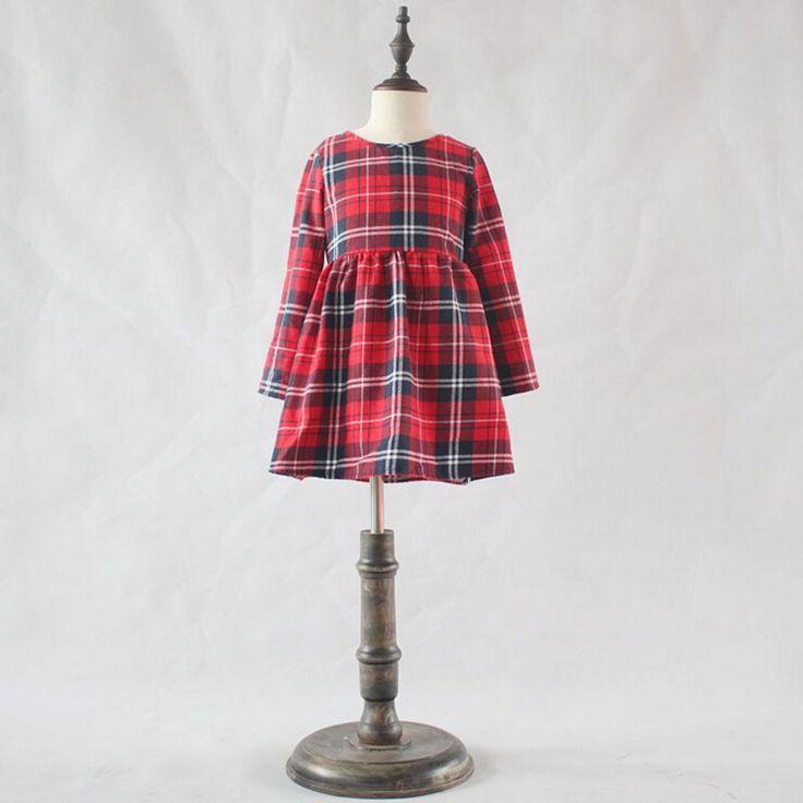 Girl Princess Dress Spring And Autumn tutu Cotton Girl Dress Long Sleeve Kids clothes Red Plaid Girl Christmas Dress #Affiliate