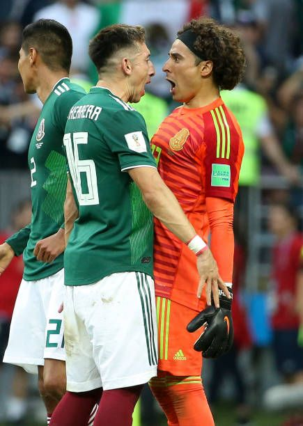 fb440382d78 Hector Herrera goalkeeper of Mexico Guillermo Ochoa celebrate the victory  following the 2018 FIFA World Cup Russia group F match between Germany and.