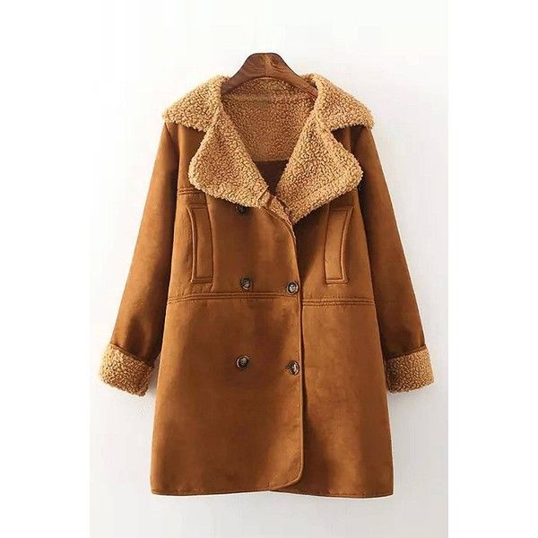 Yoins Yoins Suede Shearling Coat ($43) ❤ liked on Polyvore featuring outerwear, coats, khaki, trench coats, khaki coat, faux coat, shearling coat, suede shearling coat and brown trench coat