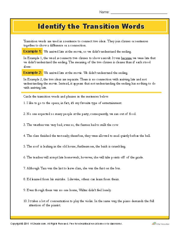 Practice identifying transition words with this helpful activity! www.k12reader.com