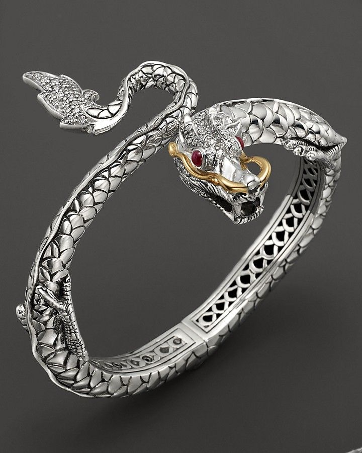 John Hardy Naga Gold and Silver Kick Cuff with Rubies and Diamond Pave