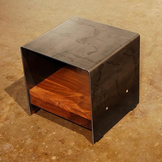 Cubic Plate Steel & Walnut Table!