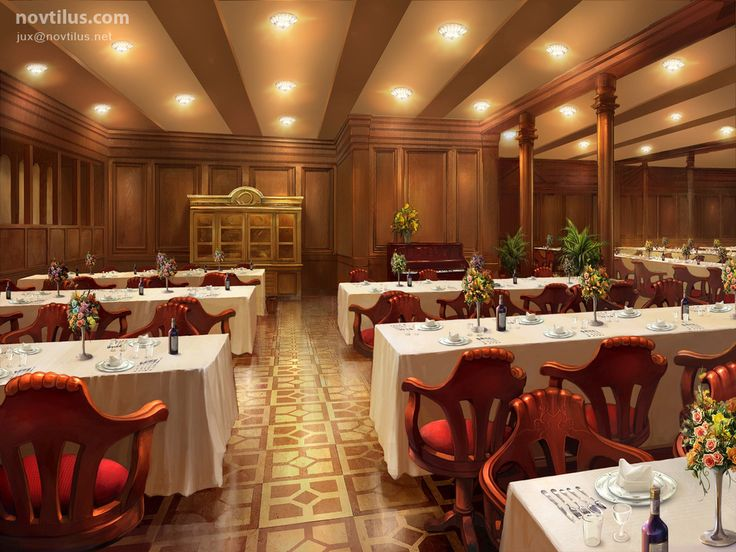 2nd Class Dining Saloon of Titanic by novtilus on DeviantArt   Titanic    Pinterest   Titanic  deviantART and Game background. 2nd Class Dining Saloon of Titanic by novtilus on DeviantArt