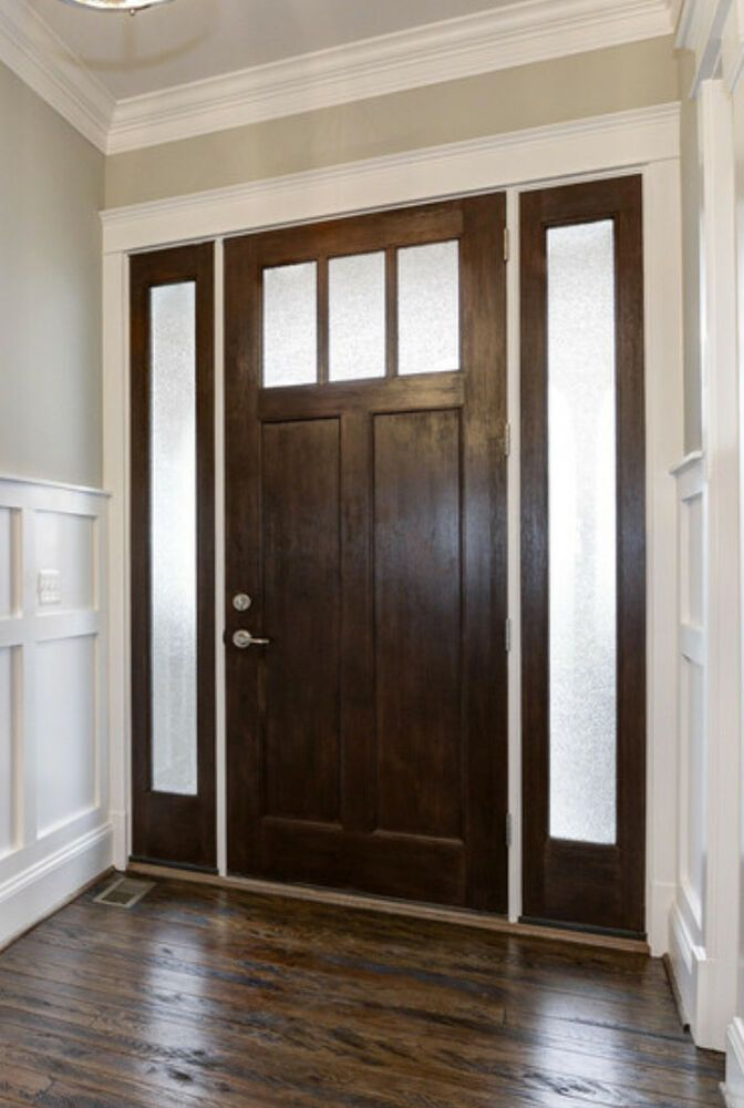 Details About 3068 Knotty Alder Craftman 3 Lite Entry Door Unit With Sidelites Wood Doors Interior Craftsman Front Doors Entry Doors