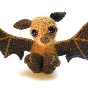 Otis the Bat amigurumi crochet pattern by Patchwork Moose (Kate E Hancock)  $4.75