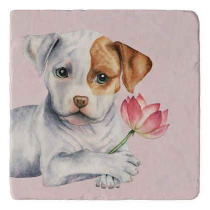 Pit Bull Puppy Holding Lotus Flower Painting Trivet - dog puppy dogs doggy pup hound love pet best friend