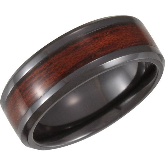Dura Cobalt Black and Wood Inlay Design Ring, Man's Wedding Band, Men's 8mm Black PVD Design Band