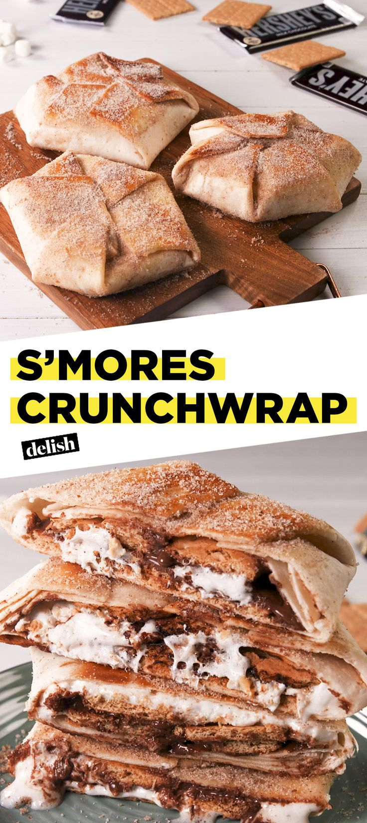 This S'mores Crunchwrap is like nothing you've EVER seen. Get the recipe at Delish.com. #recipe #easy #easyrecipe #smores #chocolate #dessert #dessertrecipe #tacobell #crunchwrap #copycat