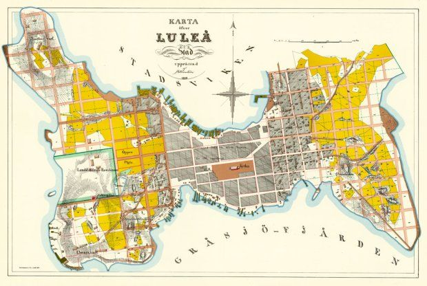Karta Luleå stad 1858.