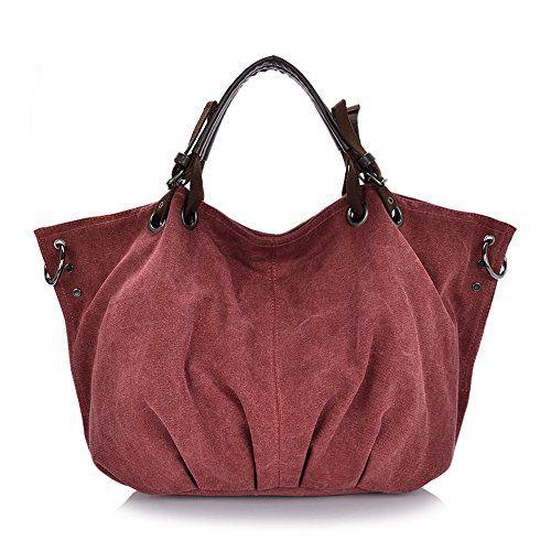 Unives® Women's Casual Canvas Handbag Extra Large Retro Shoulder Bag for Traveler Vintage Cross body Messenger for Weekender Hobo Shopper Tote for Sale Everyday Purse | Red Wine UNIVES http://www.amazon.com/dp/B011K4V80K/ref=cm_sw_r_pi_dp_-S6Kwb1J5CZHD