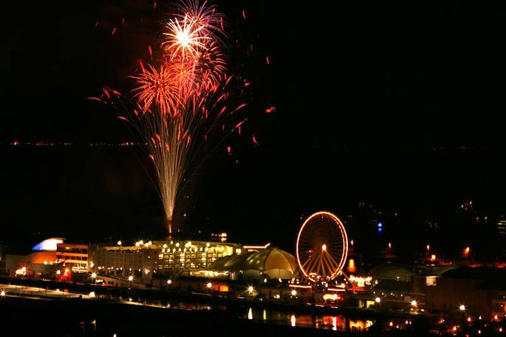 A Chicago summer tradition--Fireworks at Navy Pier! Every Wednesday & Saturday (weather permitting) you can see a spectacular show along the lake.