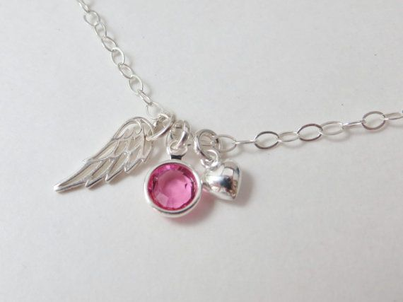 Remembrance Jewelry angel wing memorial gift by MarciaHDesigns