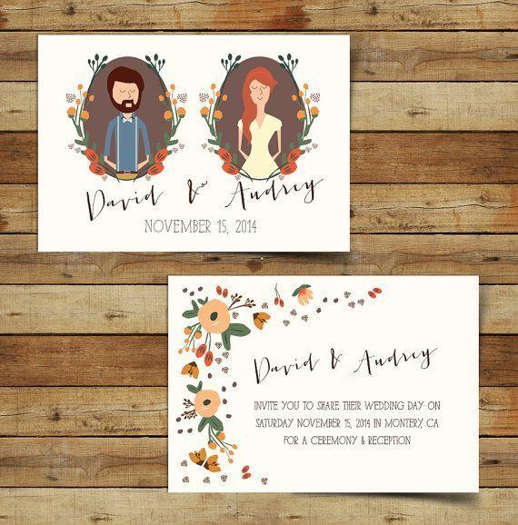 Autumn Wedding Invitation on Etsy, How cute?! || Bella Collina Weddings
