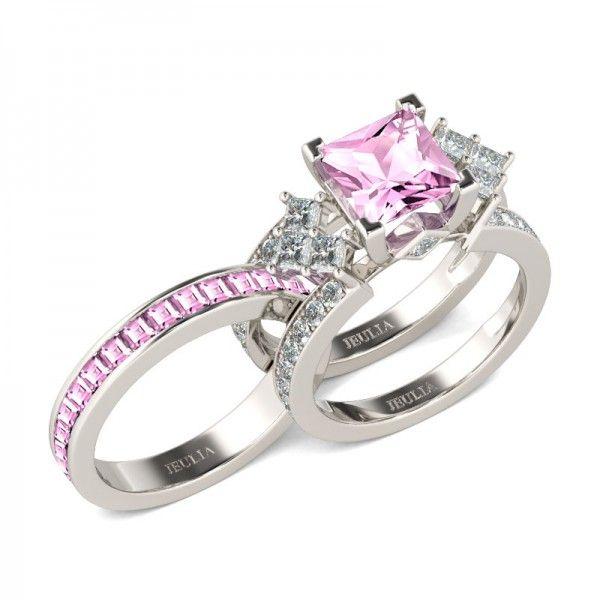 Jeulia Interchangeable Princess Cut Created Pink Sapphire Wedding Set
